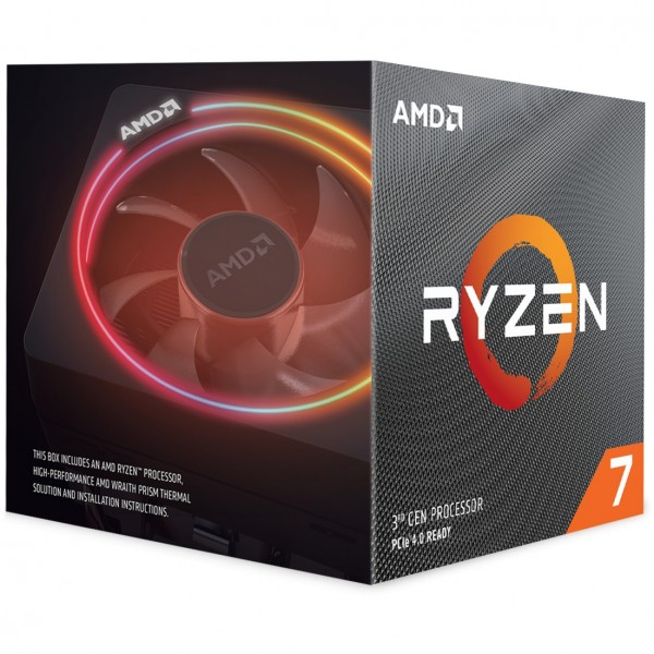 AMD AM4 Ryzen 7 8 Box 3700X 3,6 GHz MAX Boost 4,4GHz 8xCore 32MB 65W with Wraith Prism cooler 7nm